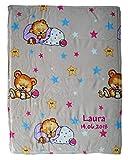 Wolimbo Flausch Babydecke mit Ihrem Wunsch-Namen und schlafender Bär Motiv - personalisierte/individuelle Geschenke für Babys und Kinder zur Geburt, Taufe und Geburtstag - 75x100 cm