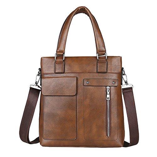 Männer Retro - Modegeschäft Aktenkoffer Vertikale Absatz Freizeit Computer Tasche Messenger Bag Brown1