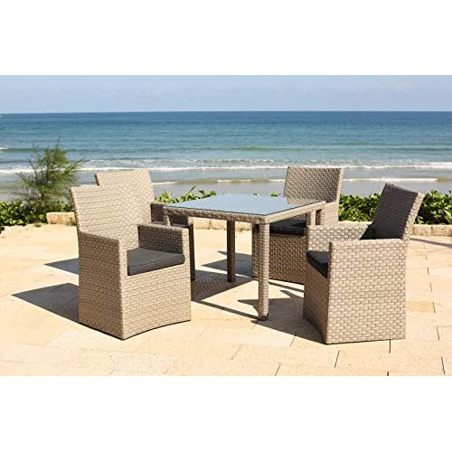 51qLXWKQtYL. SS500  - Barcelona Rattan Wicker 4 Seat Square Dining Set with Cushions and weatherproof Furniture Cover