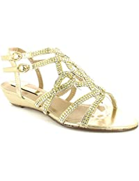 Comfort Plus WOMENS LADIES WIDE FIT GOLD SANDALS WEDDING BRIDAL BRIDESMAID DIAMANTE SHOES WIDER FITTING FORMAL PARTY PROM EVENING LOW WEDGE HEELS HOLIDAY SHOE STRAPPY GLADIATORS