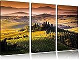 Wunderschöne Toskana Landschaft 3-Teiler Leinwandbild 120x80 Bild auf Leinwand, XXL riesige Bilder fertig gerahmt mit Keilrahmen, Kunstdruck auf Wandbild mit Rahmen, gänstiger als Gemälde oder Ölbild, kein Poster oder Plakat