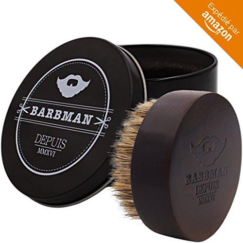 BARBMAN : Brosse à barbe en bois et poils de sangliers naturel, permet une application optimale de votre huile ou baume à barbe tout en coiffant et démêlant. Cadeau idéal pour hipster barbu (foncée)