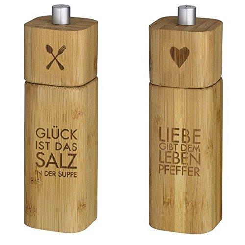 Räder Salzmühle GLÜCK und Pfeffermühle LIEBE Bambus Design