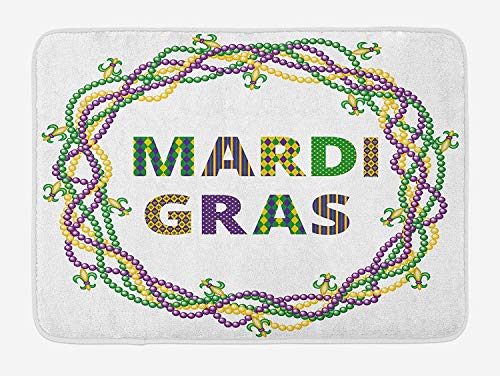 OQUYCZ Mardi Gras Bath Mat, Vivid Beads Circular Frame with Lettering Traditional Patterns Print, Plush Bathroom Decor Mat with Non Slip Backing, 23.6 W X 15.7 W Inches, Purple Green Yellow
