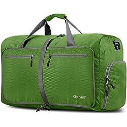 Gonex - Bolsa de equipaje plegable para deporte o viaje (multiusos, impermeable, 80 L), Verde , L
