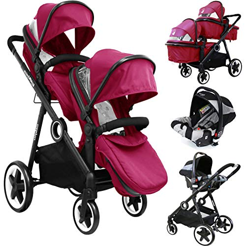 iSafe Tandem Pram Me&You - Red (Sienna) + iSafe Infant Car Seat Group 0+