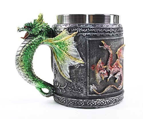 Mythical Green Royal Dragon Mug Serpent Handle Medieval Collectible Stein Halloween Magical Party Home Decor Gift by We pay your sales tax