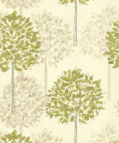 green-cream-beige-417904-boulevard-trees-forest-arthouse-wallpaper