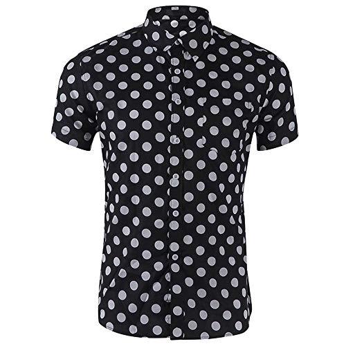 Drucken Regular Fit Hemd (Bonboho Herren Hemden Große Größe Blumendrucken Polka Dots Kurzarm Männer Drucken Punkt Knopf Oben Shirt Hemd Oberhemd Knopfhemd Regular Fit)
