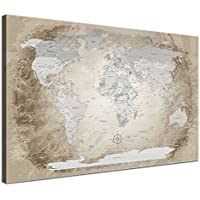 LanaKK Mapamundi con corcho para fijar los destinos - Mapa del mundo beige, inglés, lámina sobre bastidor camilla en marrón, enmarcado en una parte de 100 x 70 cm