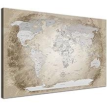 LanaKK Mapamundi - Mapa del mundo beige, inglés, lámina sobre bastidor camilla en marrón, enmarcado en una parte de 60 x 40 cm