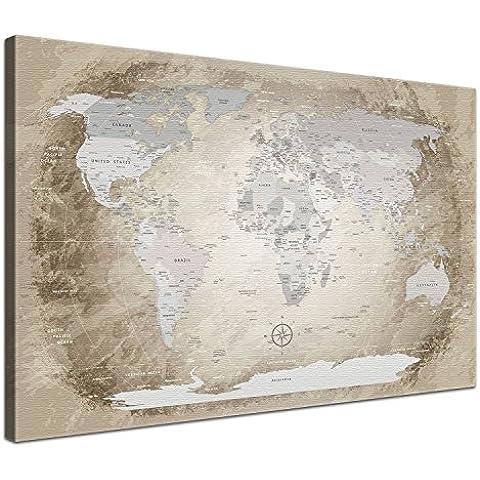 LanaKK® - mapamundi beige - versión Inglés, reproducción artística sobre lienzo premium en bastidor, tamaño con bastidor tensado 100 x 70 cm, en una