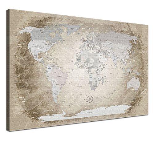 """fotoleinwand 120 x 80 LANA KK - Weltkarte Leinwandbild mit Korkrückwand zum pinnen der Reiseziele – """"Worldmap Beige"""" - englisch - Kunstdruck-Pinnwand Globus in braun, einteilig & fertig gerahmt in 120x80cm"""