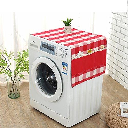 Baumwoll leinen gitter trommel waschmaschine cover handtuch,Bedside-tischdecke,Wasserdicht universal cover handtuch,Kühlschrank staubschutz-A 30x100cm(12x39inch) (Baumwoll-mischungen Gitter-muster,)