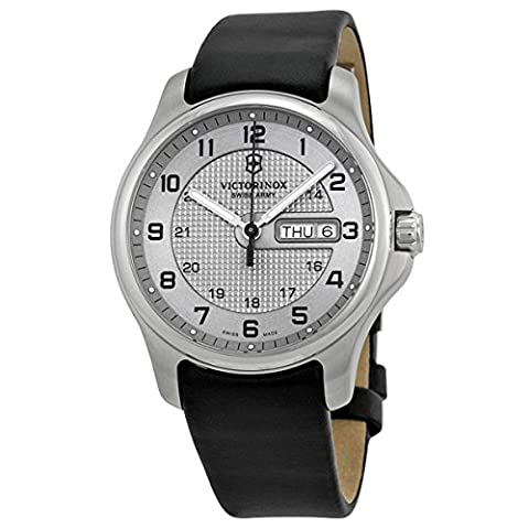 Swiss Army Classic Officer's Stainless Steel GMT Mens Strap Watch Silver Dial Calendar 241550