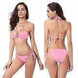 Honestyi Sexy Frauen Bikini Set Bademode Push Up Gepolsterter BH Badeanzug Beachwear DM052 Frauen Bikini Zweiteilige Badebekleidung (mit Abnehmbarer Brustauflage) S/M/L/XL(Rosa,M)