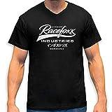 RACEFOXX V-Neck T-Shirt MEN schwarz, Druck weiss, Größe M