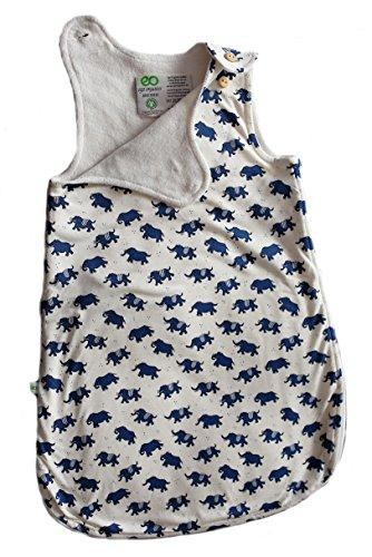 Babyschlafsack 100% Bio-Baumwolle GOTS Ganzjahres Schlafsack Ärmellos 2.5 Tog 0-6 Monate 60cm oder 6-18 Monate 80cm (60cm / 0-6 Monate, Elefant)