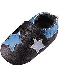 7ff5bc10dbf19 LSERVER Chaussure en Cuir Souple Chaussons pour Enfant Bébé Garçon Fille