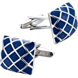 Yellow Chimes Exclusive Collection Chequered Strips Blue Stainless Steel Silver Cufflinks for Men