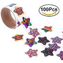 NUOLUX Etiquetas engomadas coloridas pegatina de la estrella para los niños Gran regalo de la recompensa de los favores de partido size 100 Stickers