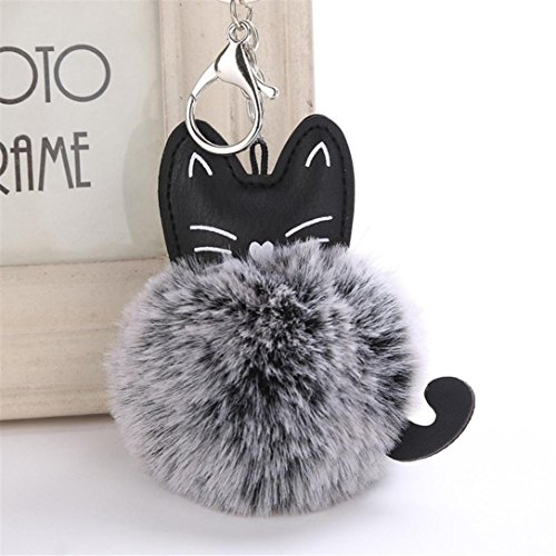 Handy-charme Cat (artistic9(TM) Cute Cat Anhänger Frauen Schlüsselanhänger Key Ring Halter Pompon Schlüsselanhänger, schwarz, 8 cm)