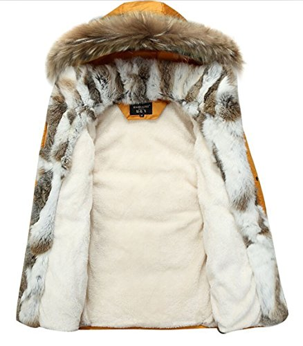YYZYY Herren Winter Warm Daunenmantel Mäntel Pelzmantel 90% Daunen Fellkapuze Lang Parka Luxurious Fur Jacken Rex Fur Collar Gelb