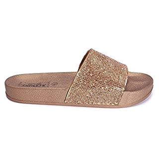 Mizzshuzz New Womens Ladies Girls Sparkly Diamante Comfy Sliders Summer Sandals 10-2 (12 UK Child, Rose Gold Champagne)