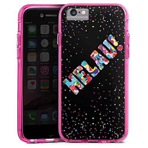 Apple iPhone 6 Plus Bumper Hülle Bumper Case Glitzer Hülle Helau Fasching Karneval Bumper Case transparent pink