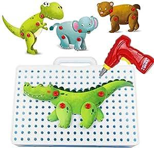 Costruzione con di giocattolo animali il 8 creativo puzzle 3d del il cacciavite elettrico scherza dCBxtshQr
