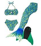 Superstar88 Meerjungfrau Badeanzug Mädchen Niedliche Meerjungfrau Kostüm 3pcs Bikini-Sets Kinder Schwimmflossen (140, Grün+flossen)