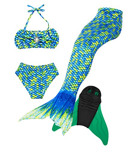 frau Badeanzug Mädchen Niedliche Meerjungfrau Kostüm 3pcs Bikini-Sets,Hochwertige und Niedliche Kinder Schwimmflossen (120, Grün Flossen einschließen) (Kreative Kostüme Für Mädchen)