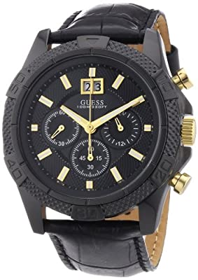 Guess W0176G1 - Reloj cronógrafo de cuarzo para hombre con correa de piel, color negro