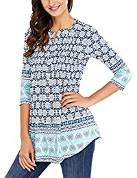 Happy Sailed Ladies Floral Printed 3/4 Sleeve Blouses