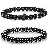 BE STEEL 2Pcs Natur Stein Armbänder für Herren Damen Mala Perlen Armband Männer Armreif Schwarz 8MM