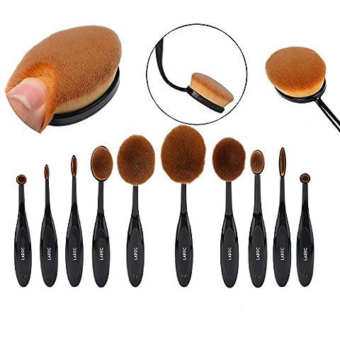 LaRoc ® 10pcs Oval Makeup Brush Cosmetic Set Kit Toothbrush Eyeshadow Foundation Powder