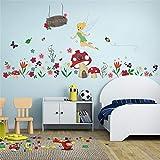 ufengke Flower Fairy Wall Stickers Mushroom House Wall Decals Art Decor For Girls Kids Bedroom Nursery