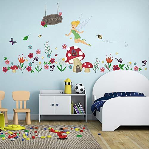 ufengke Wandtattoo Blume Fee Wandsticker Wandaufkleber Pilz Für Babyzimmer Kinderzimmer Mädchen - Bienen-pilz