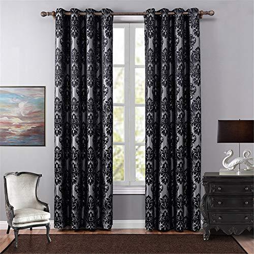 By-gg High-End Vorhänge für Wohnzimmer Schlafzimmer 2Pcs Panel voller Polyester-Jacquard-Stoff hohen Schatten (70% -90%) perforierte Vorhänge,140X240cm - Datenschutz-boden-bildschirm