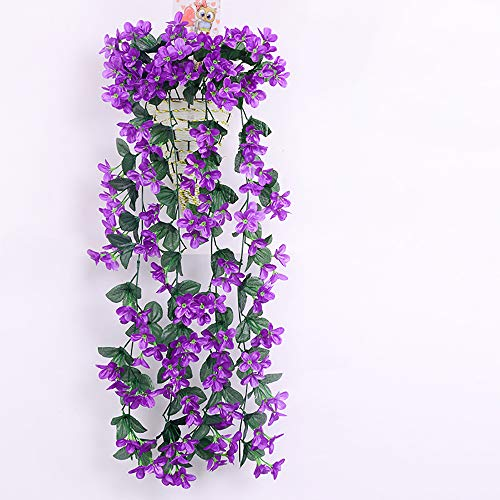 Il cestino fellie artificiale viola fiori vite wall hanging garland wedding home party balcone decorazione 85cm/84,8cm (viola)