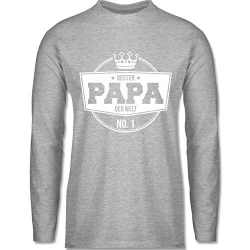 Shirtracer Vatertag - Bester Papa der Welt - Herren Langarmshirt Grau Meliert