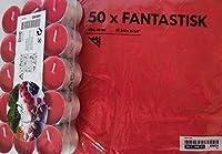 Ikea Sinnlig Scented Tealight Candles Sweet Berries RED 30 Pack & 50 Fantastisk Red Napkins 2 Items Bundle
