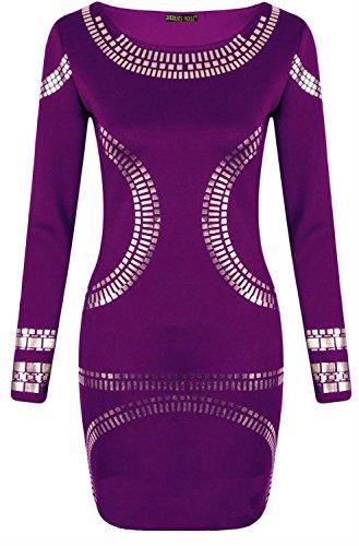 Nouveau Femmes Plus Size feuille d'or Pois Imprimé à manches longues Midi robe 44-52 purple
