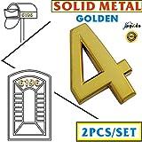 Magicdo®, numero civico, 2 pezzi, 6,9 cm, color oro, in metallo, per case moderne, buche delle lettere in metallo, numero autoadesivo (2pezzi/dorato), numero 4
