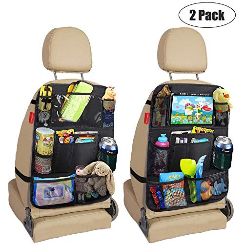 Awroutdoor Premium Rückenlehnenschutz 2 Stück, Große Taschen und iPad-/Tablet-Fach, Auto Rücksitz-Organizer für Kinder, Autositz-Schoner wasserdicht, Kick-Matten-Schutz in universeller Passform