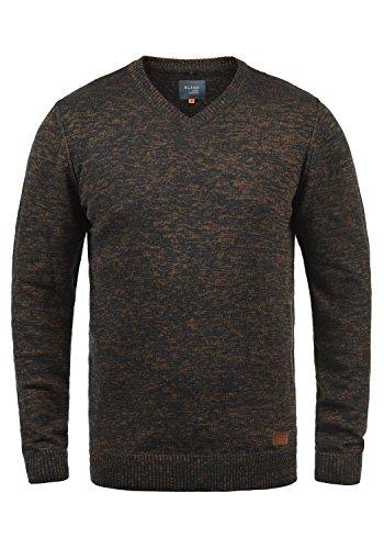 Blend Dansel Herren Strickpullover Feinstrick Pullover Mit V-Ausschnitt Und Melierung, Größe:XXL, Farbe:Burned Orange (73823)