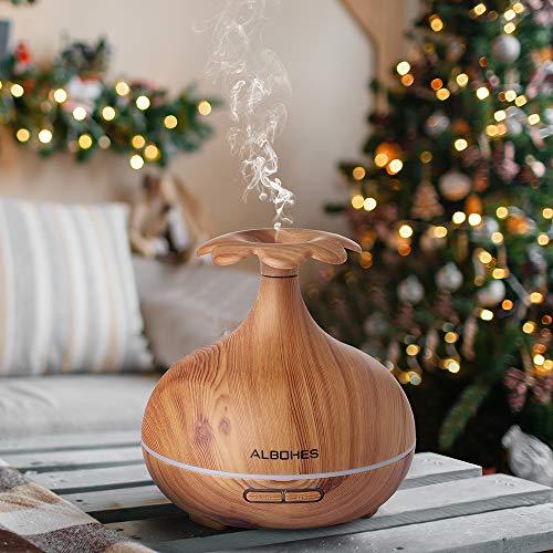 Difusor Aceites Esenciales, Albohes Ultrasónico Aromaterapia 300ml, Humidificador con Temporizador, Difusor de aroma para SPA/Masaje/Yoga/Hogar/Oficina, Ambientador (Color Bambú) (Flor ciruela)
