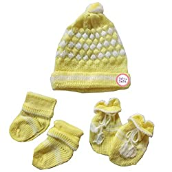 Baby Basics - Soft Woolen Cap Mitten Booties Set - Yellow