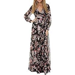Women 's Bohemian Floral Print Long Sleeve V Neck Long Maxi Dress Plus Size Swing Black XL