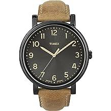 Timex T2N677D7 - Reloj de cuarzo unisex, correa de piel, color marrón